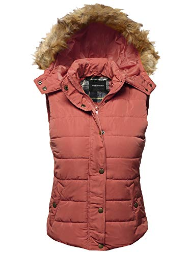 Awesome21 Casual Cute Detachable Fur Hood Padded Junior Vest Salmon M