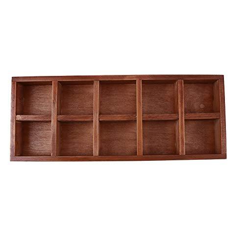 MKChung 10 Grids Wooden Succulents Flowerpot Storage Box Balcony Desktop Organizer (10 grids)