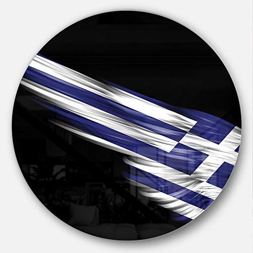 designart mt8920-c23Ronda para ala con Bandera de Grecia Arte Digital Wall Art, 58,4x 58,4cm Azul/Blanco