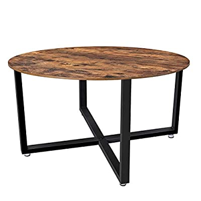 "VASAGLE ALINRU Round Coffee Table, Industrial Style Cocktail Table, Durable Metal Frame, Easy to Assemble, for Living Room, Rustic Brown ULCT88X - HAPPY HOURS HERE: Invite your friends over for a fun afternoon of board games or a movie night; this large round table of 34.6"" x 34.6"" x 18.5"" will be a perfect companion on which to comfortably play checkers and have some snacks and drinks IN A FEW MINUTES: Having a coffee table with a unique design should be something for everyone; with only 3 parts, assembly will be child's play! Plus, all the screws are the same, so you can't go wrong CHARACTERISTICS? UNIQUE: Leave behind those tables that are just ""taken and put there"". This coffee table, with unique matte black iron legs joined together and a round top with rustic wood grain, brings a touch of charm and novelty to your living room - living-room-furniture, living-room, coffee-tables - 41HLEZXFx8L. SS400  -"