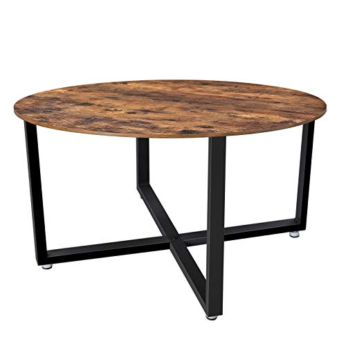 VASAGLE ALINRU Round Coffee Table, Industrial Style Cocktail Table, Durable Metal Frame, Easy to Assemble, for Living Room, Rustic Brown ULCT88X (Round Coffee Table Small)
