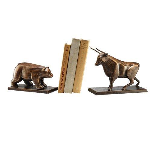 Bear Stock Market Bookends - SPI Home Bull & Bear Bookends,Brown,4.0x7.5x10.5