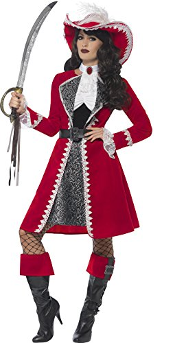 [Smiffy's Women's Deluxe Authentic Lady Captain Costume, Dress, Jacket, Neck Tie & Boot Covers, Pirate, Serious Fun, Size 14-16,] (Pirate Costumes Boot Covers)