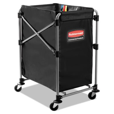 Collapsible X-Cart, Steel, Four Bushel Cart, 20 1/3w x 24 1/10d, Black/Silver, Sold as 1 Each from Rubbermaid Commercial