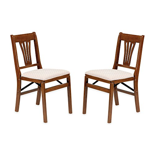 Handsome Traditional Styling Urn Back Wood Folding Chairs Set of 2 in Fruitwood w/ 5-year Manufacturer's Warranty ()