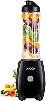 Aicok Single Serve Personal Blender w/Portable Bottle (Black)