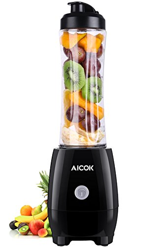 Aicok Personal Blender with Portable Bottle, BPA-Free Tritan Single Serve Blender For Healthy Drinks 20oz Mini Smoothie Maker for Outdoors and Travelling, Black