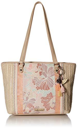 Tote Pink Straw Handbags - Sakroots Meadow Medium Tote, Petal Pink Flower Blossoms