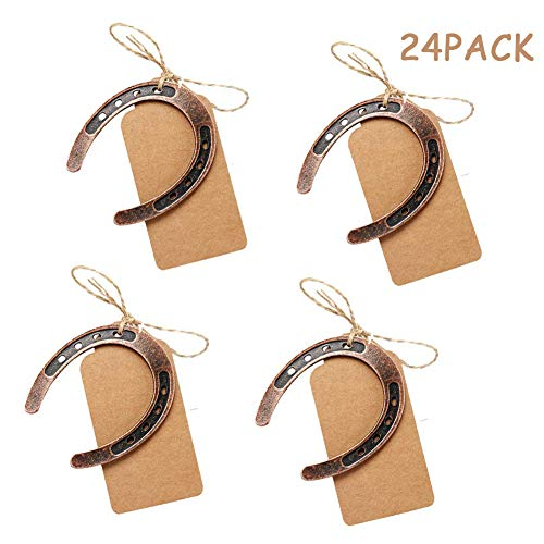 - JINMURY 24Pcs Lucky Horseshoes Wedding Favors with Blank Kraft Tags Vintage Horseshoe Gifts Collectible Token for Guests Rustic Wedding Party Decorations