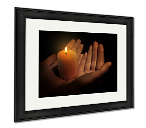 Ashley Framed Prints Burning Candle In Hands Isolated On Black, Modern Room Accent Piece, Color, 34x40 (frame size), Black Frame, AG6514333 by Ashley Framed Prints
