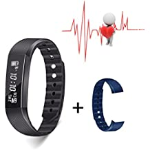 Slicemall Fitness Tracker with Heart Rate Monitor Watch Activity Step Pedometer Bracelet Sport Equipment for Men Women and Kids for iOS & Android App - Black, Free One Pair Wristband