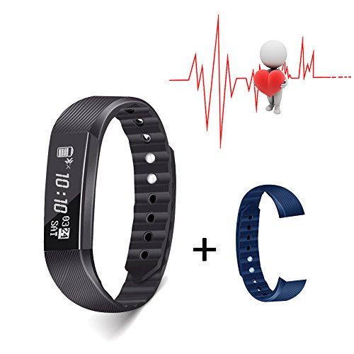 Slicemall Fitness Tracker with Heart Rate Monitor Watch Activity Step Pedometer Bracelet Sport Equipment for Men Women and Kids for iOS & Android App – Black, Free One Pair Wristband