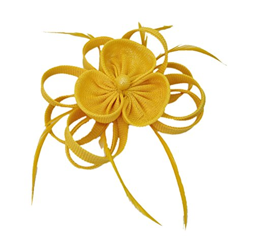 Ahugehome Fascinator Headband Hairclip Flower Feather Netting Mesh Cocktail Hat Party (JR Yellow) by Ahugehome