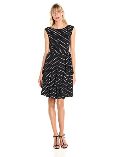 (Tahari by Arthur S. Levine Women's Cap Sleeve Polka Dot Dress, Black/White, 6)