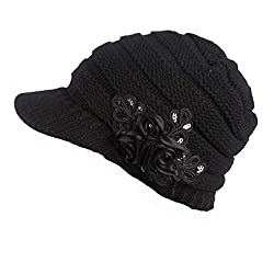 Black Beanie Cable Knit Hat with Sequined Flower
