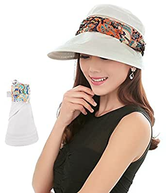(Beige) - 2-in-1 Folding Roll Up Wide Brim Sun Visor Cap UPF 50+ UV Protection Sun Hat with Detachable Neck Protector Hood for Travel Holiday Beach Swimming Cycling Camping Hiking Trekking Running Headwear