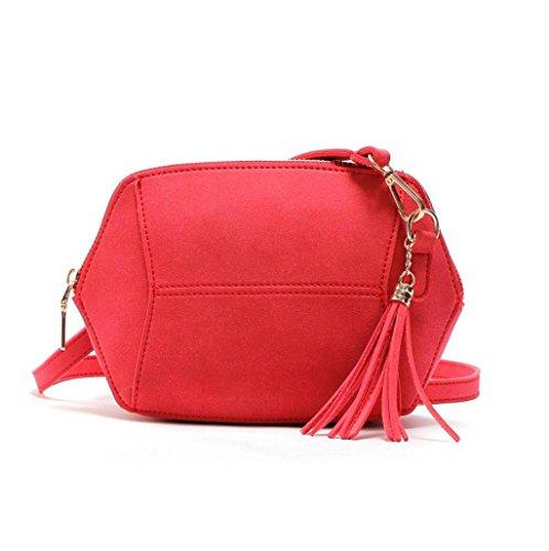 cuero Rosa mujer B 21x4x17 bandolera x Rojo x de cm T H bolso Bolsa Bolsos Sannysis pequeño FqZIw