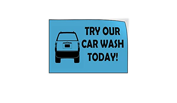 Set of 5 27inx18in Decal Sticker Multiple Sizes Try Our Car Wash Today Blue Black Automotive Car Outdoor Store Sign Light-Blue