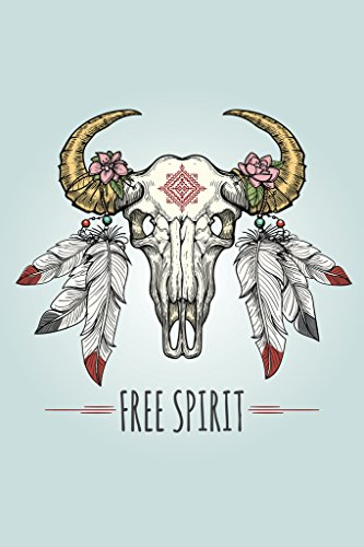 Free Spirit Buffalo Skull with Ornaments and Feathers Art Print Poster 12x18 inch