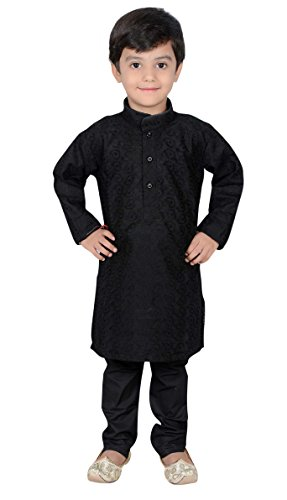 Desi Sarees - Boys Indian Bollywood sherwani kids children kurta churidar shalwar kameez Black 844 (4 ( 4 yrs ), Black)