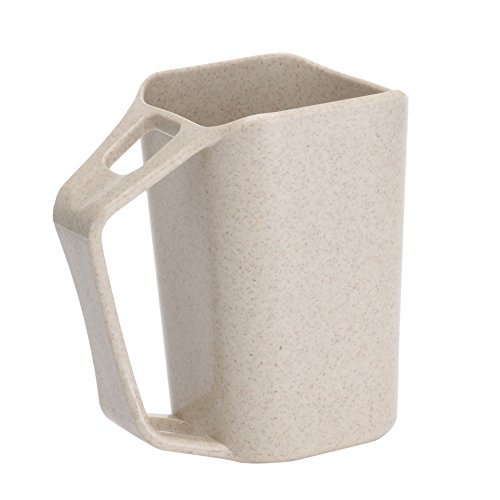 Uviviu Wheat Straw Tumbler Cup,tooth-brushing Cup for bathroom 350ml (Khaki)