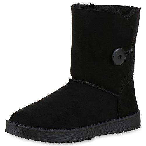 napoli-fashion Damen Schuhe Winter Stiefeletten Schlupfstiefel Kunstfell Gefüttert Jennika Schwarz Knöpfe