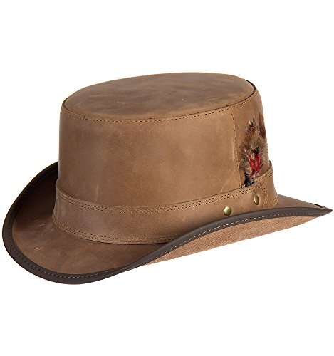 Overland Sheepskin Co. Steampunk Leather Stoker Hat, Pecan, Size XXLarge (7 3/4–7 7/8) by Overland Sheepskin Co