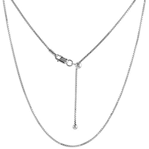Sterling Silver Adjustable Box Chain Necklace 1 mm Nickel Free, 24 inch