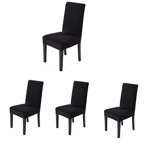 4 pieces Spandex Stretch Washable Dining Room Chair Cover Protector Seat Slipcovers (Black, 4)