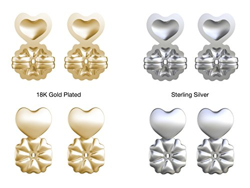 Allstar Innovations MagicBax | Earring Backs, Hypoallergenic, Fits all Post Earrings, As Seen on TV (Set of 4 Sterling Silver & 18K Gold Plated Sterling Silver)