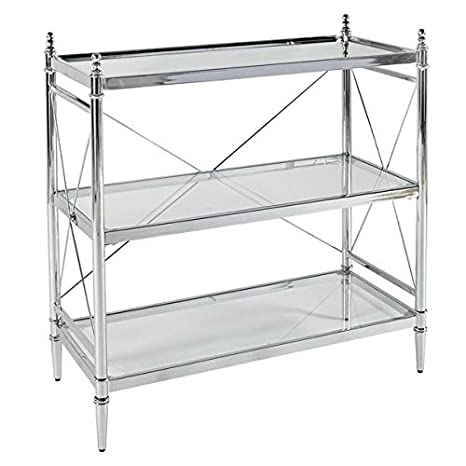 Amazon.com: Mesa de consola de cristal de metal con marco en ...