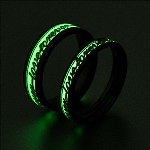 JAJAFOOK Men Wide 6/4mm Luminous Effect Stainless Steel Luminous Forever Love Ring Glow in the Dark by JAJAFOOK (Image #1)