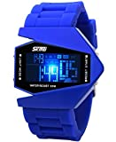 Auspicious beginning Teens' unique waterproof LED Military plane design digital sports watch, blue