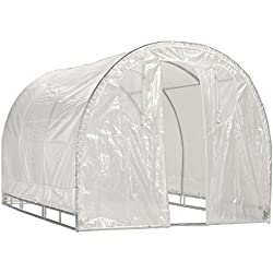 "Greenhouse-Weatherguard Walk In Arched Top Garden Hot House Fully Enclosed - Screend Windows for Ventilation, Zippered Door (6'W x 12'L x 6'6""H) Small Hobby Greenhouse for large decks, patios, porches, backyards"