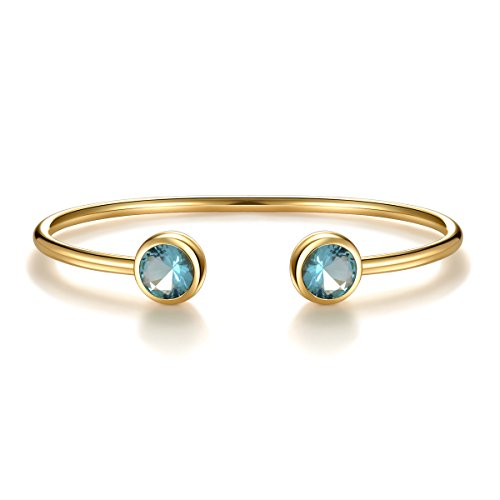 - December Simulated Blue Topaz Birthstone Cuff Bangle Bracelet Crystal Gold Plated Bangle Bar Birth Month Charm Valentine's Day Gifts for Wife Girlfriend Women Girls Anniversary Gifts for Her