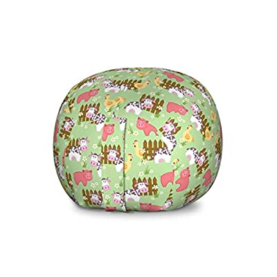 Lunarable Farmhouse Storage Toy Bag Chair, Country Style Cartoon Animals Print with Cow Pig and Chicken Near The Fence Image, Stuffed Animal Organizer Washable Bag for Kids, Large Size, Multicolor: Kitchen & Dining