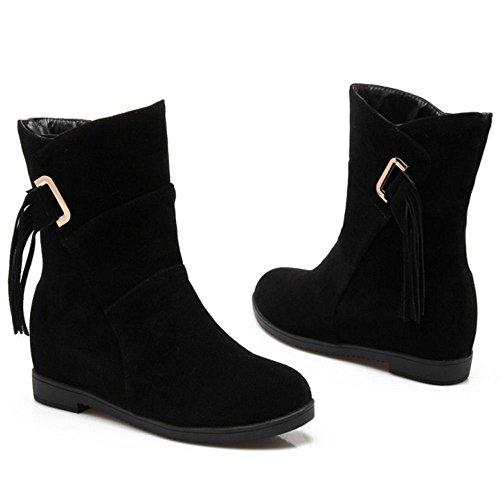 COOLCEPT Occidental Botas Vestidas Zapatos Sin Cordones con Tacon Bajo para Mujer Black