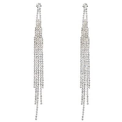 Topwholesalejewel Bridal Long 5 Strands Silver Crystal Earrings