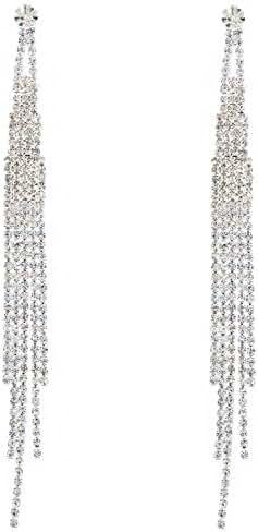 Topwholesalejewel Bridal Long 5 Strands Silver Crystal Earrings