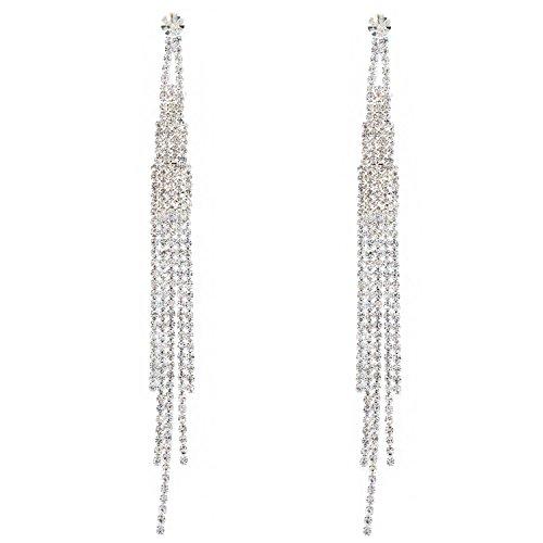 Topwholesalejewel Bridal Long 5 Strands Silver Crystal Earrings ()