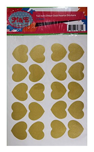 - cute Sparkling glitter gold Heart Stickers - glitter planner stickers - sparkling gold vinyl hearts wall decoration, gold hearts wall decals (2 Sheets)(total 40 Hearts 2 inches wide each)