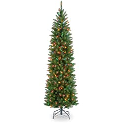 National Tree 6.5 Foot Kingswood Fir Pencil Tree with 250 Multicolor Lights, Hinged (KW7-313-65)