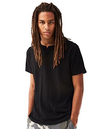 Rebels Sweatshirt Ribbed - Rebel Canyon Young Men's Short Sleeve Notched Crewneck T-Shirt in Slub Jersey Large True Black