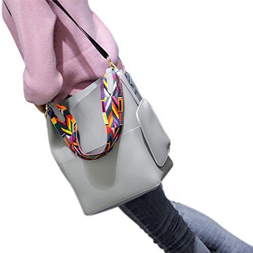 Del Bolsa Hombro Yiwa Pu Mujer Cuero Cruz Grey Cuerpo Bolso Moda xwHa1qA