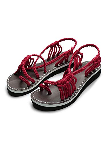 Festnight Flat Sandals for Women, Women's Retro Sandals Bohemia Braided Strap Flat for Summer Red