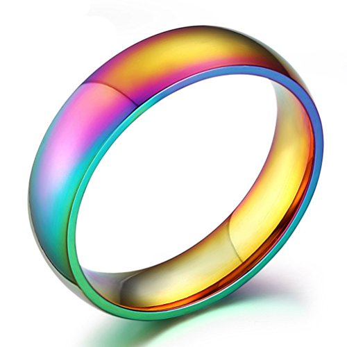Rainbow Wedding Bands Classic 6MM Titanium Stainless Steel Colorful Gay Lala Promise Band Rings High Polished Finish Comfort Fit Size 6