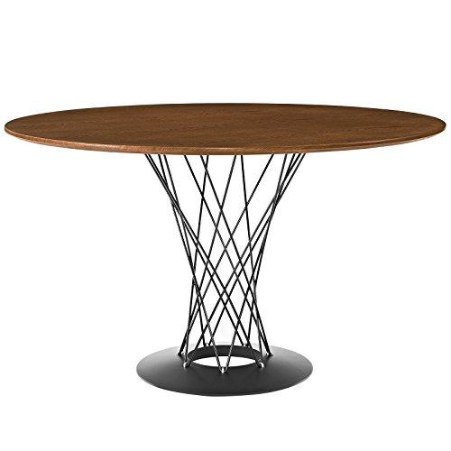 - Modway Cyclone Mid-Century Modern Round Steel Pedestal Dining Table in Walnut