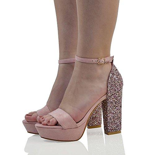 ESSEX GLAM Gamuza Sintética Sandalias de punta abiert con plataforma, purpurina y tira al tobillo para fiesta Rosa Pastel Gamuza Sintética