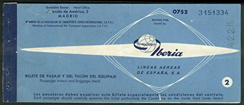 Iberia Líneas Aéreas de España airline ticket used 1961 Rome-Barcelona