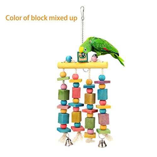Parrot Toy Knot Block with Bell for Parrot Macaw African Greys Cockatoo Cockatiel Eclectus Budgie Lovebirds Conures Parakeet Chewing Standing and Cage Decoration, 15.7'' Hanging Total Length by Mokook